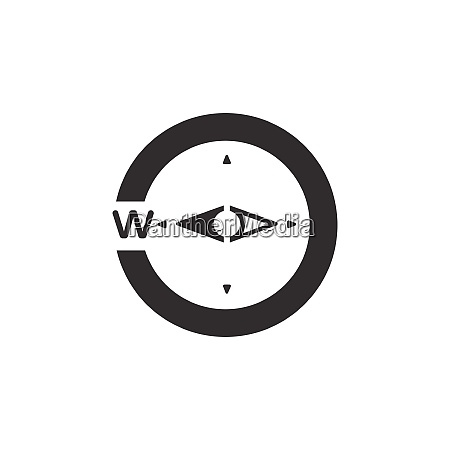 compass west direction icon weather glyph
