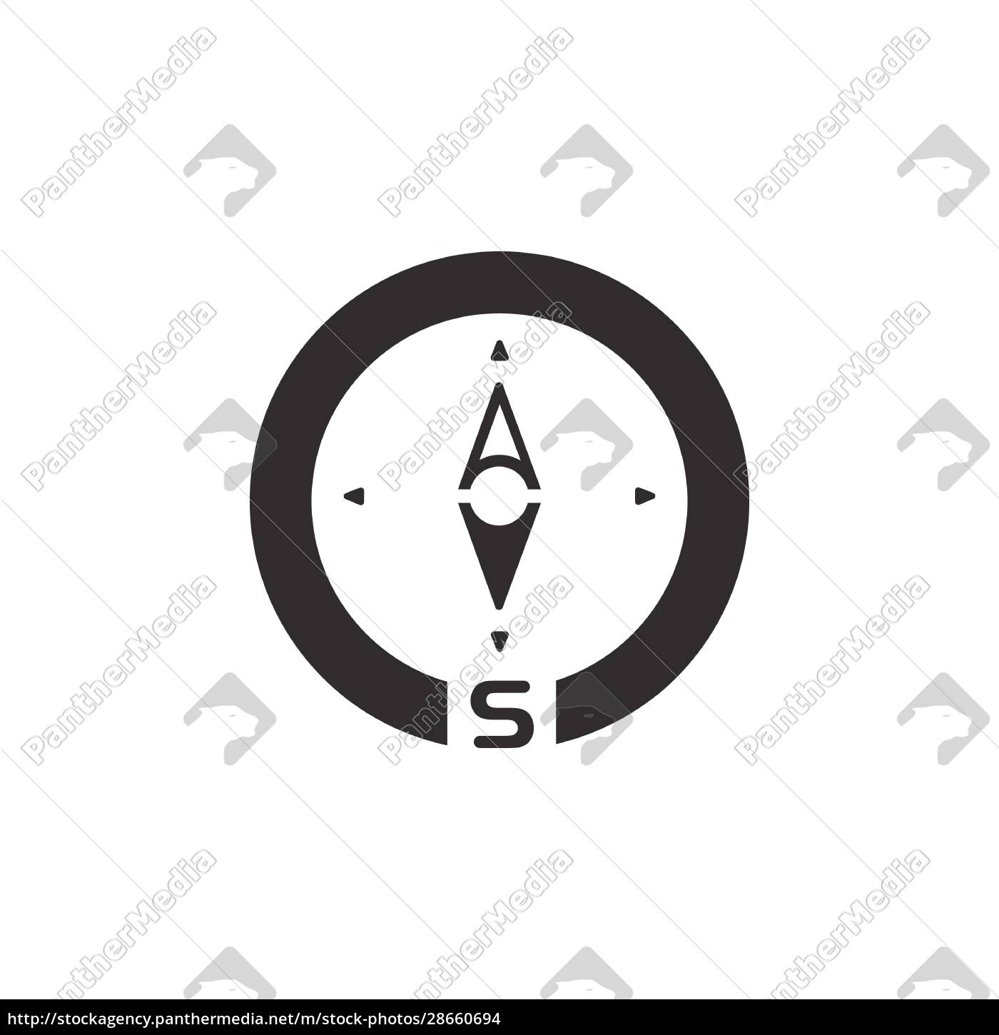 compass., south, direction., icon., weather, glyph - 28660694