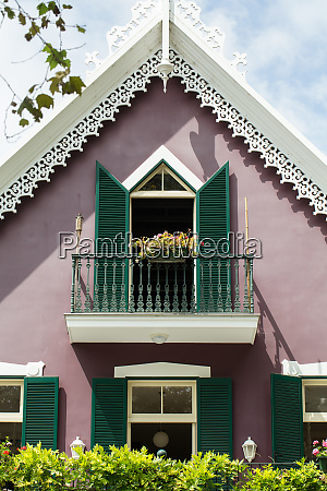 ornamental facade of colorful house in