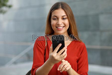 portrait of a smiling woman sending