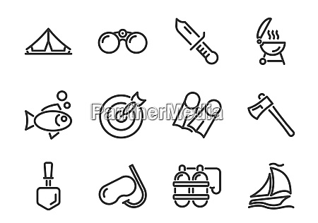 tourism and outdoor activities line icons