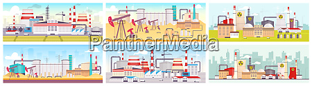 industrial sites flat color vector illustrations