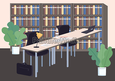 college library flat color vector illustration