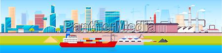 metropolis panorama flat color vector illustration