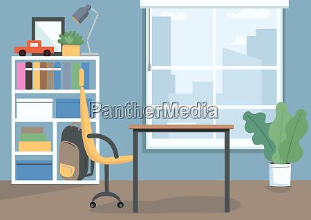 childrens bedroom flat color vector illustration