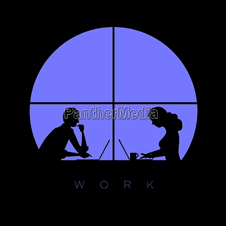 man and woman works with laptop