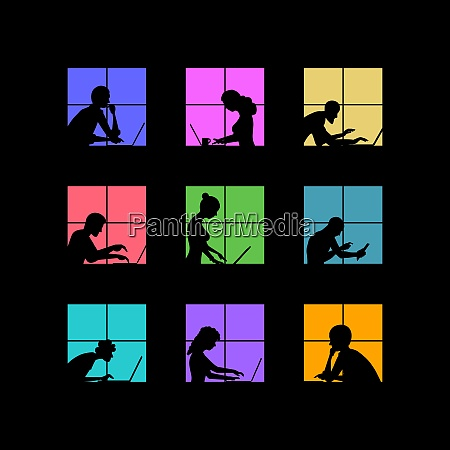 people works with laptop late at