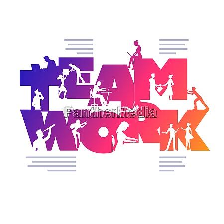 teamwork business concept poster design template