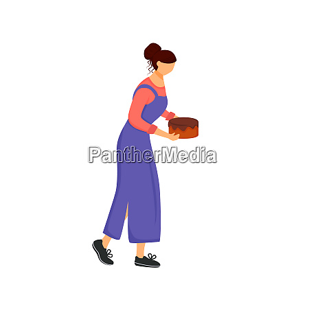 pastry chef woman with cake flat