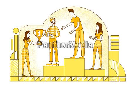 career achievement flat silhouette vector illustration