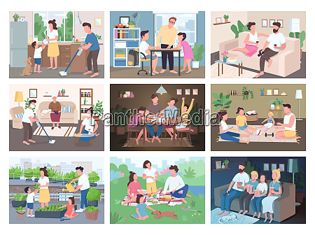 family routine flat color vector illustrations