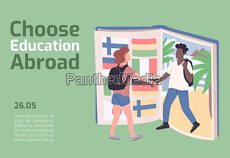 choose education abroad banner flat vector