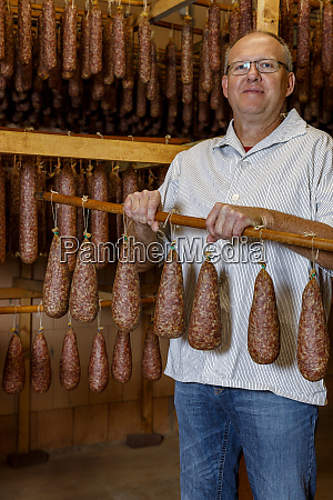 handmade smoked sausage from the butcher