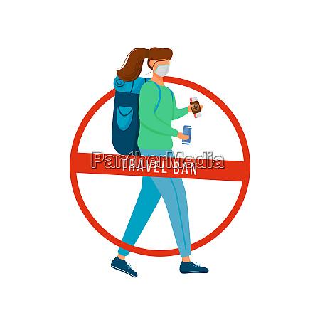 travel ban flat color vector faceless