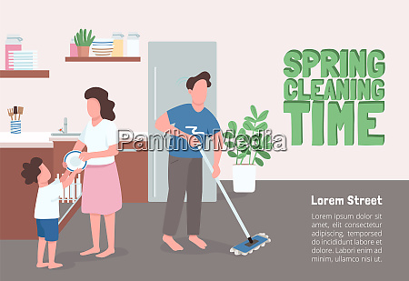 spring cleaning time poster flat vector