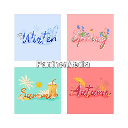 four seasons banner flat vector template
