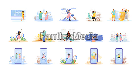 seasonal flat concept vector illustrations set