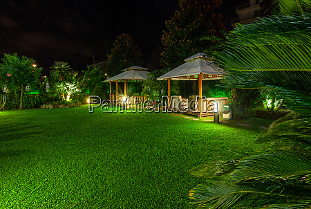 the deserted patio and garden at