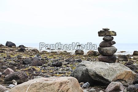 stone sculpture on the beach
