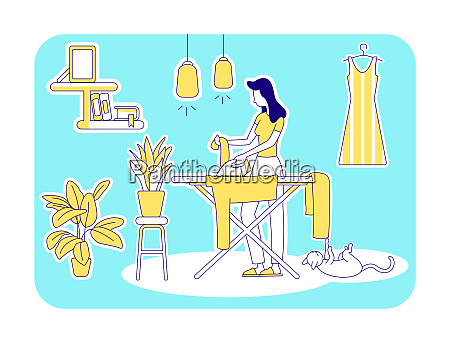 housekeeping flat silhouette vector illustration