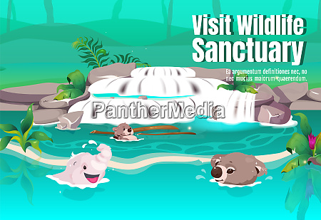 visit wildlife sancturary poster flat vector