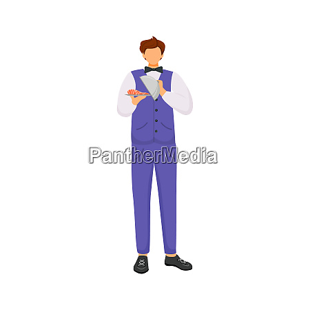 waiter male servant with dish flat