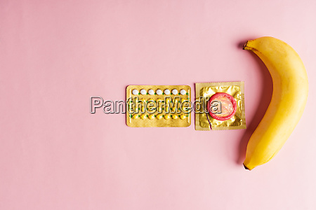 condom on wrapper pack banana and