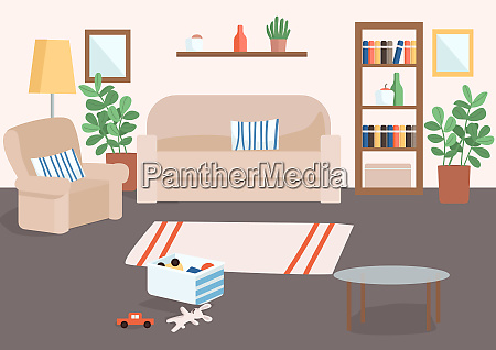 family living room flat color vector