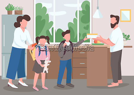 parenthood flat color vector illustration