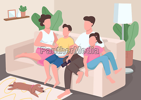 family watch tv flat color vector