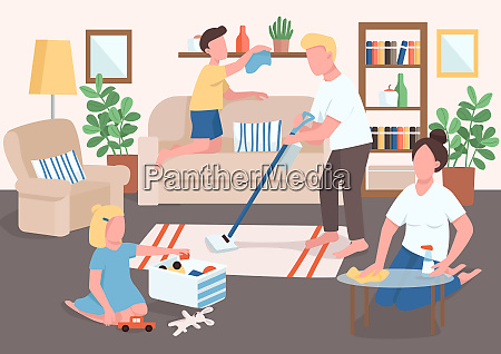 parents and children cleaning flat color