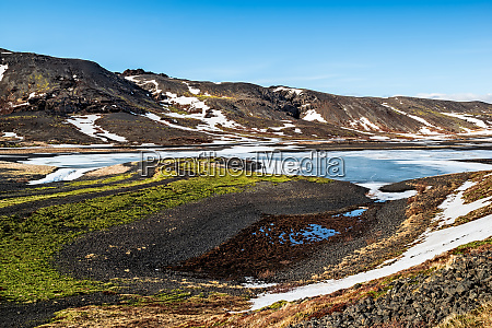 kleifarvatn lake in winter in a