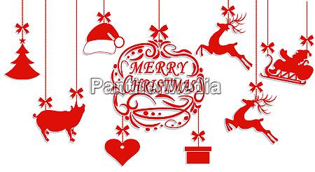 merry christmas santa claus hat deer
