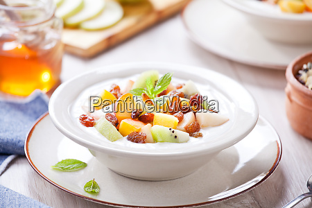 yogurt with fresh fruits and honey
