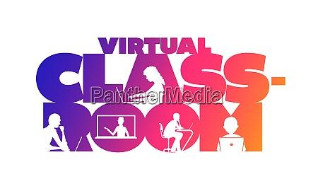 virtual classroom concept typographic design
