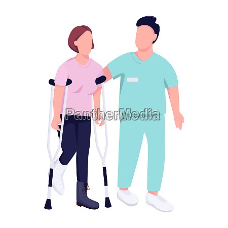 woman on crutches and doctor flat