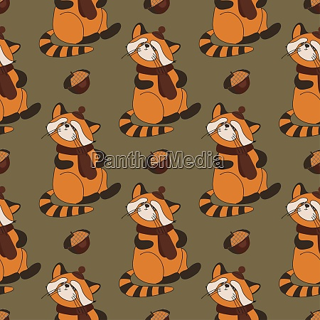 autumn pattern with animals red panda
