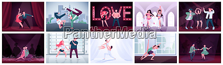 couples dancing flat color vector illustrations