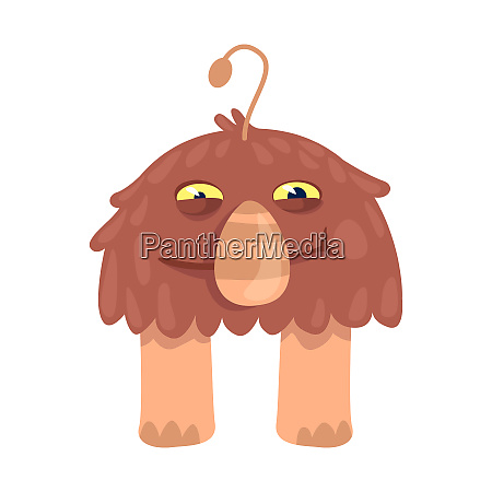 brown alien flat cartoon vector illustration