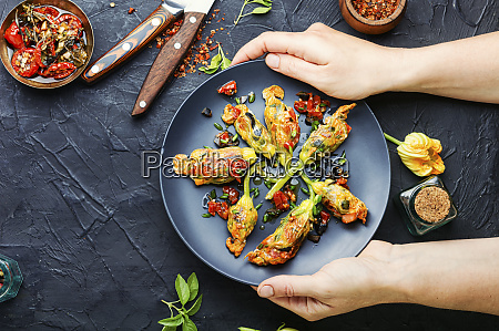 fried zucchini flowers with filling