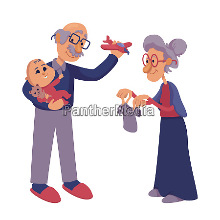 grandparents playing with infant flat cartoon