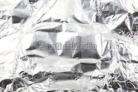 close up of crumpled aluminum foil