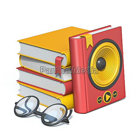 audio books concept books with eyeglasses