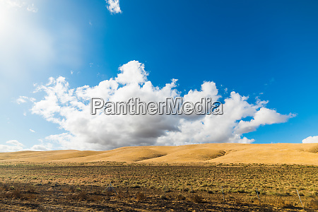 yellow hill under a blue sky