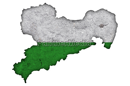map and flag of saxony on