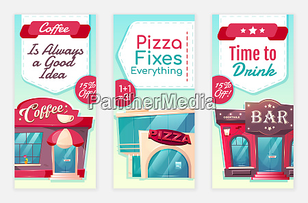 cafe discount flyers flat vector templates