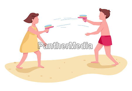 children fighting with water guns flat
