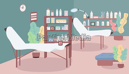 waxing salon flat color vector illustration