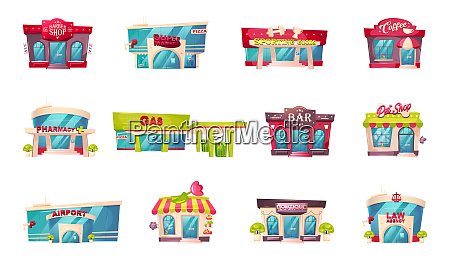 shop front flat color vector objects