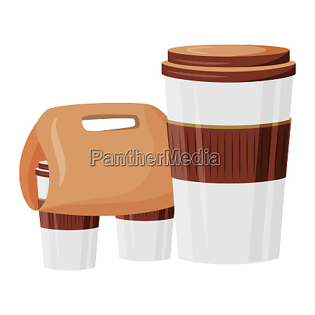 cafeteria take out cartoon vector illustration